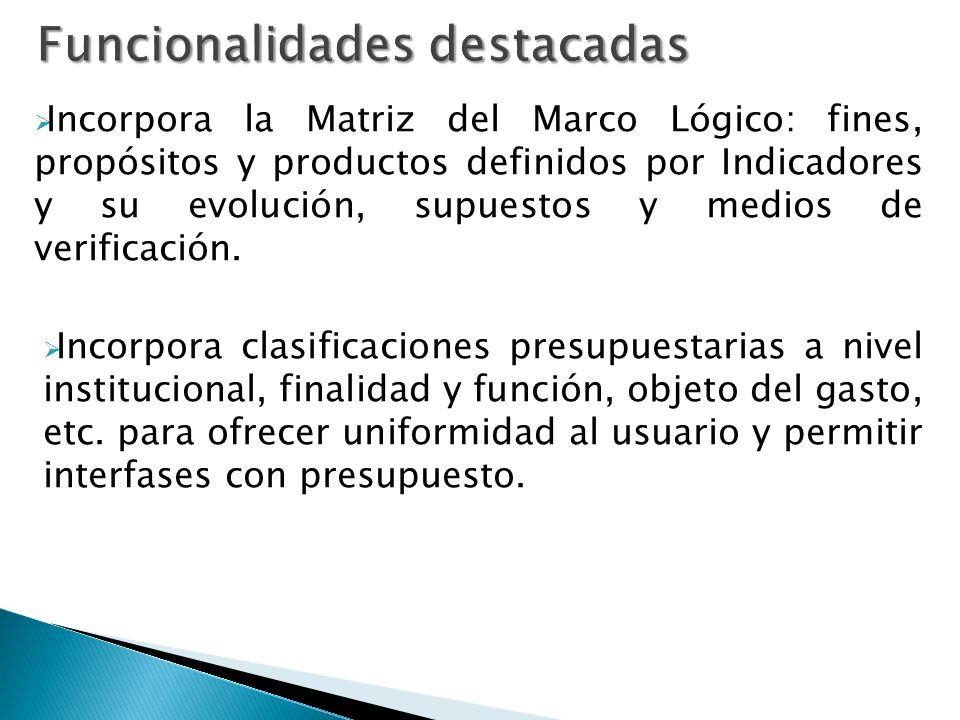 Incorpora la Matriz del Marco Lógico: fines, propósitos y productos definidos por Indicadores y su evolución, supuestos y medios de verificación.
