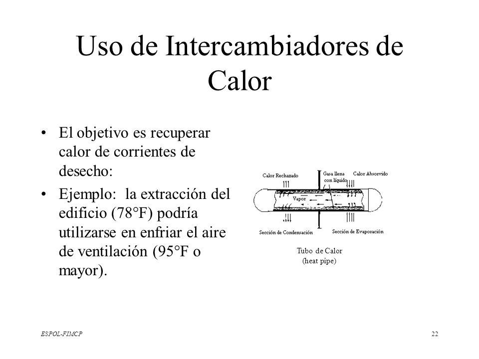 ESPOL-FIMCP22 Uso de Intercambiadores de Calor El objetivo es recuperar calor de corrientes de desecho: Ejemplo: la extracción del edificio (78°F) pod