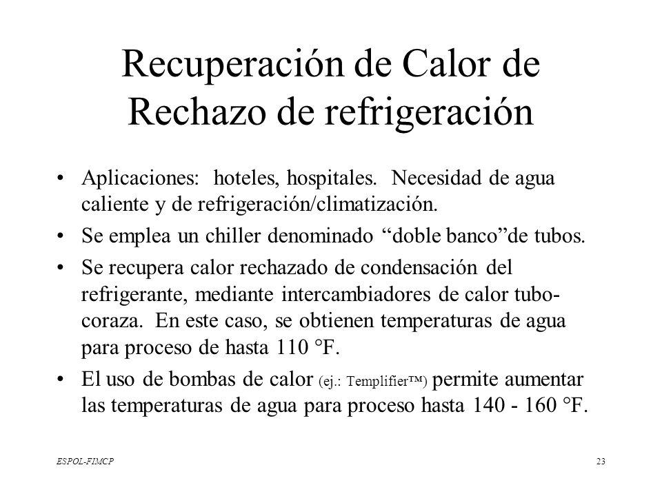 ESPOL-FIMCP23 Recuperación de Calor de Rechazo de refrigeración Aplicaciones: hoteles, hospitales. Necesidad de agua caliente y de refrigeración/clima