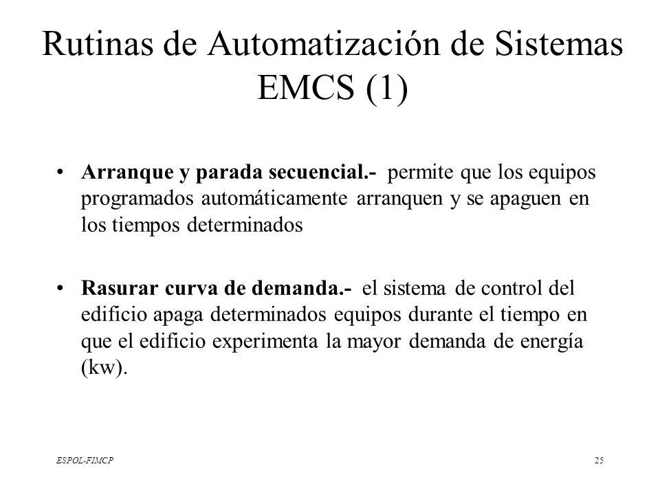ESPOL-FIMCP25 Rutinas de Automatización de Sistemas EMCS (1) Arranque y parada secuencial.- permite que los equipos programados automáticamente arranq