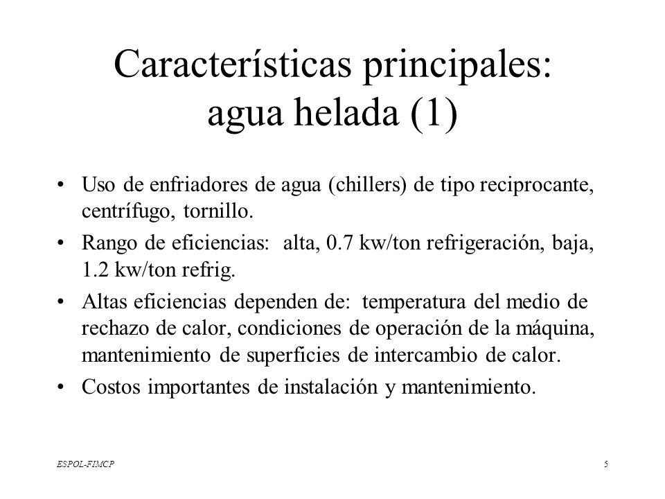 ESPOL-FIMCP5 Características principales: agua helada (1) Uso de enfriadores de agua (chillers) de tipo reciprocante, centrífugo, tornillo. Rango de e