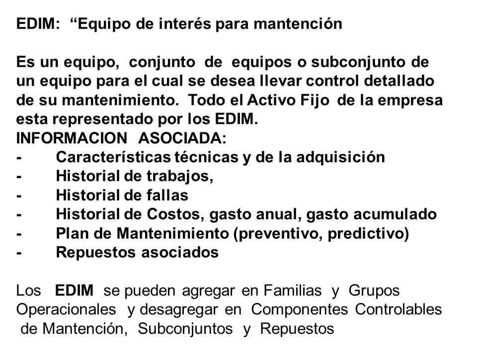 EDIM: Equipo de interés para mantención Es un equipo, conjunto de equipos o subconjunto de un equipo para el cual se desea llevar control detallado de