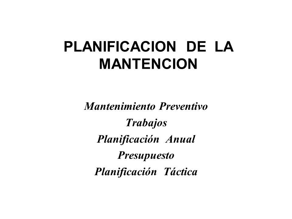 PLANIFICACION DE LA MANTENCION Mantenimiento Preventivo Trabajos Planificación Anual Presupuesto Planificación Táctica