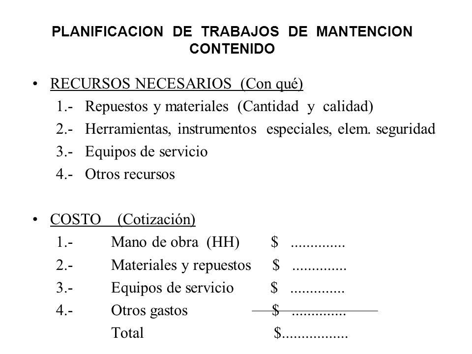 PLANIFICACION DE TRABAJOS DE MANTENCION CONTENIDO RECURSOS NECESARIOS (Con qué) 1.- Repuestos y materiales (Cantidad y calidad) 2.- Herramientas, inst