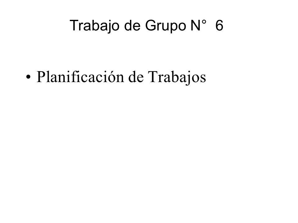 Trabajo de Grupo N° 6 Planificación de Trabajos