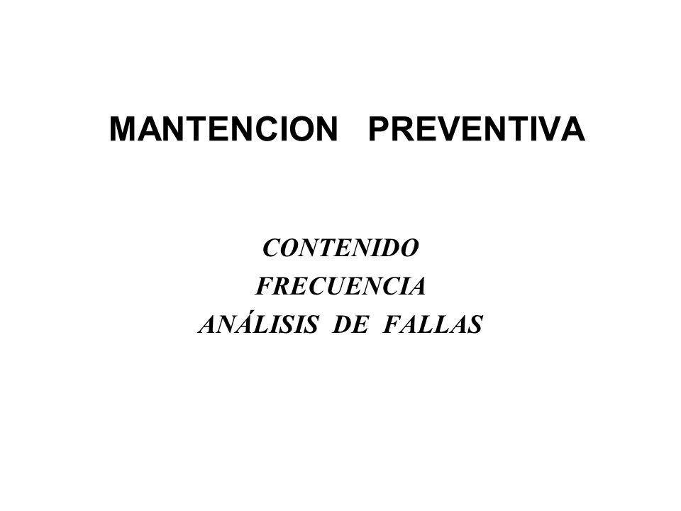 MANTENCION PREVENTIVA CONTENIDO FRECUENCIA ANÁLISIS DE FALLAS