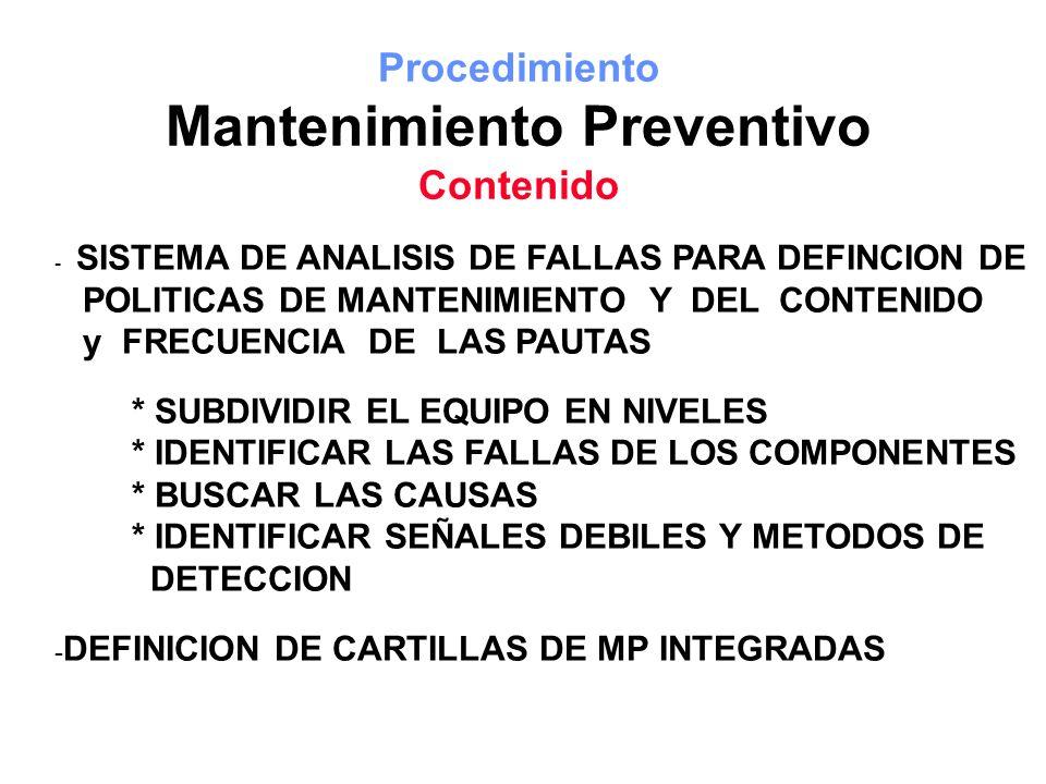 Procedimiento Mantenimiento Preventivo Contenido - SISTEMA DE ANALISIS DE FALLAS PARA DEFINCION DE POLITICAS DE MANTENIMIENTO Y DEL CONTENIDO y FRECUE