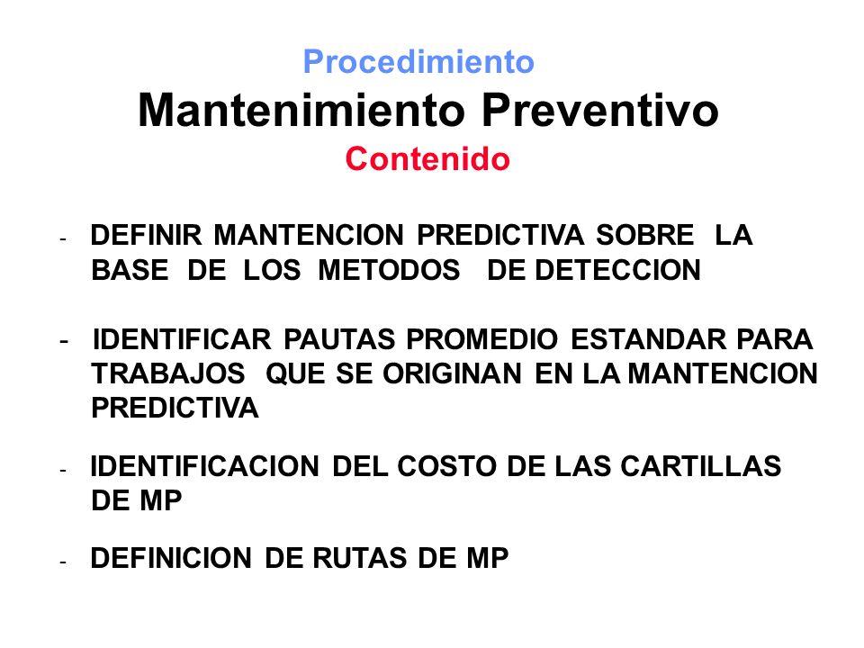 Procedimiento Mantenimiento Preventivo Contenido - DEFINIR MANTENCION PREDICTIVA SOBRE LA BASE DE LOS METODOS DE DETECCION - IDENTIFICAR PAUTAS PROMED
