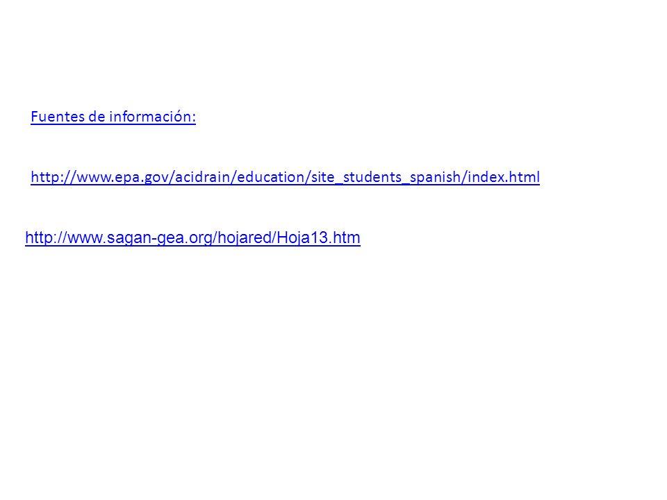 Fuentes de información: http://www.epa.gov/acidrain/education/site_students_spanish/index.html http://www.sagan-gea.org/hojared/Hoja13.htm