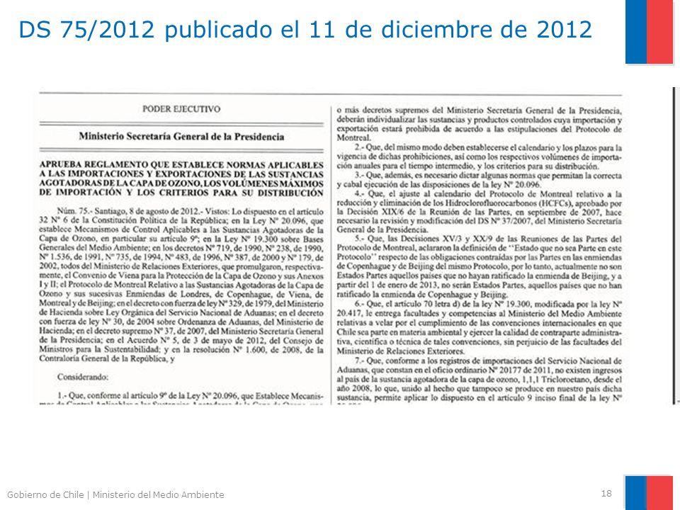 Gobierno de Chile | Ministerio del Medio Ambiente DS 75/2012 publicado el 11 de diciembre de 2012 18