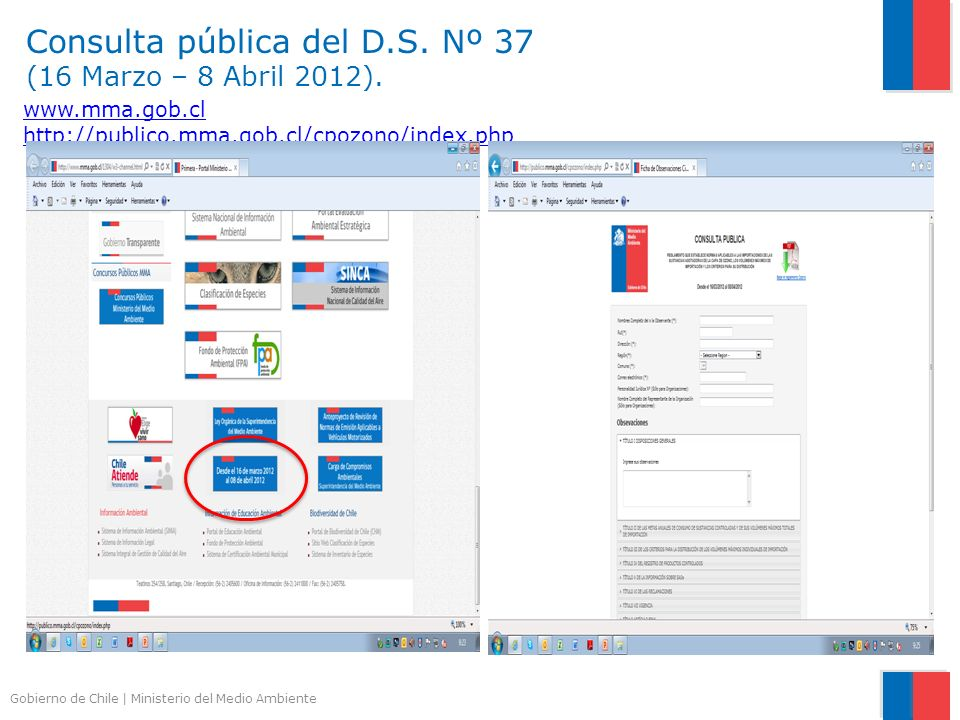 Gobierno de Chile | Ministerio del Medio Ambiente www.mma.gob.cl http://publico.mma.gob.cl/cpozono/index.php Consulta pública del D.S. Nº 37 (16 Marzo