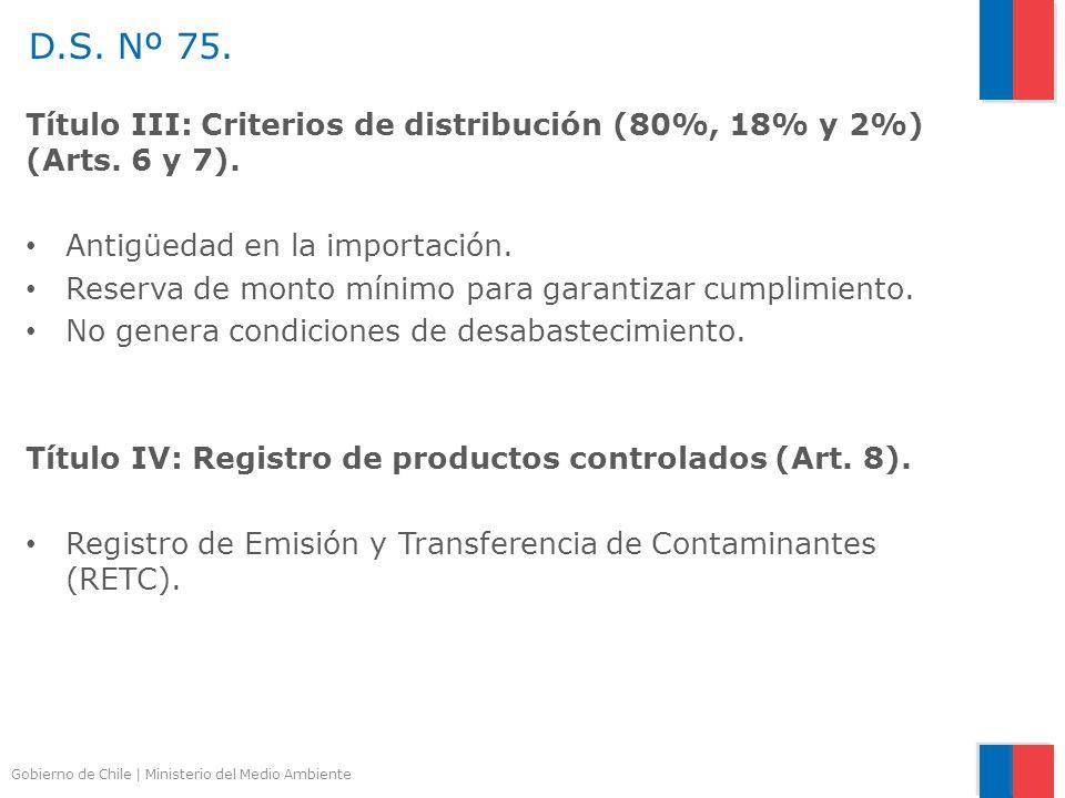Gobierno de Chile | Ministerio del Medio Ambiente Título III: Criterios de distribución (80%, 18% y 2%) (Arts. 6 y 7). Antigüedad en la importación. R