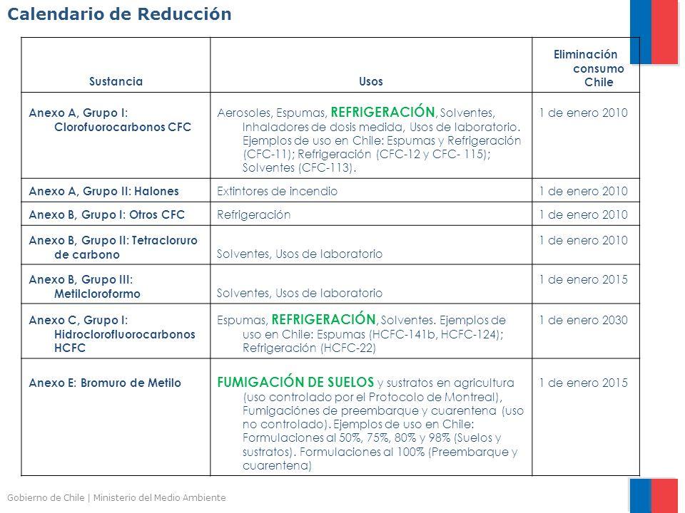 Gobierno de Chile | Ministerio del Medio Ambiente Calendario de Reducción SustanciaUsos Eliminación consumo Chile Anexo A, Grupo I: Clorofuorocarbonos