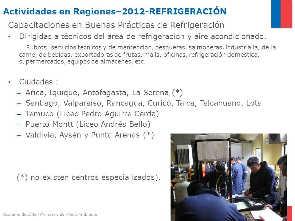 Gobierno de Chile | Ministerio del Medio Ambiente Actividades en Regiones–2012-REFRIGERACIÓN Capacitaciones en Buenas Prácticas de Refrigeración Dirig