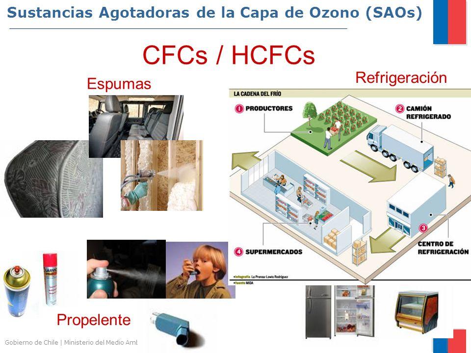 Gobierno de Chile | Ministerio del Medio Ambiente Sustancias Agotadoras de la Capa de Ozono (SAOs) Refrigeración Espumas Propelente CFCs / HCFCs