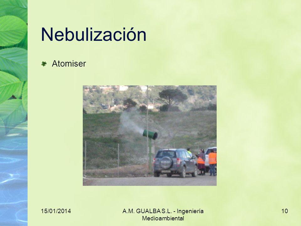 15/01/2014A.M. GUALBA S.L. - Ingeniería Medioambiental 10 Nebulización Atomiser