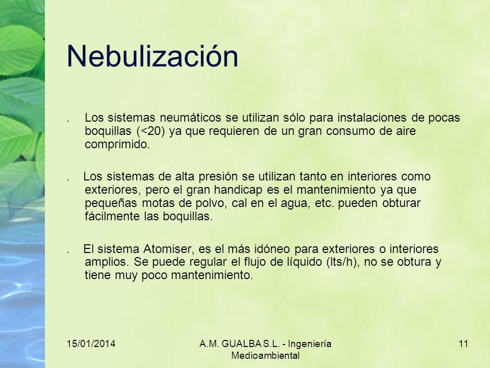 15/01/2014A.M. GUALBA S.L. - Ingeniería Medioambiental 11 Nebulización.Los sistemas neumáticos se utilizan sólo para instalaciones de pocas boquillas