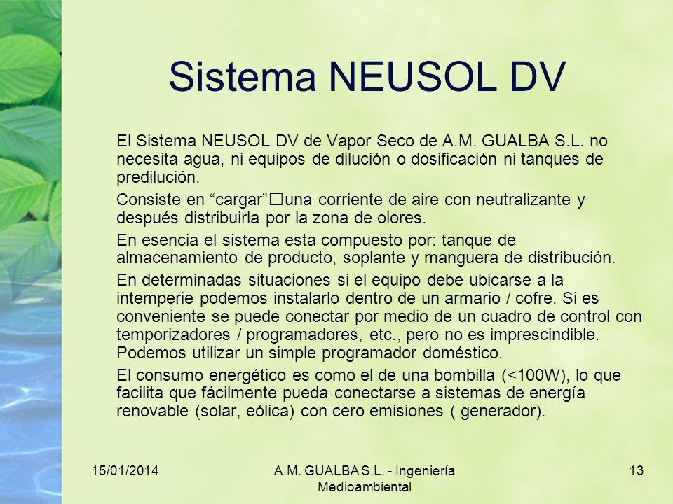 15/01/2014A.M. GUALBA S.L. - Ingeniería Medioambiental 13 Sistema NEUSOL DV El Sistema NEUSOL DV de Vapor Seco de A.M. GUALBA S.L. no necesita agua, n
