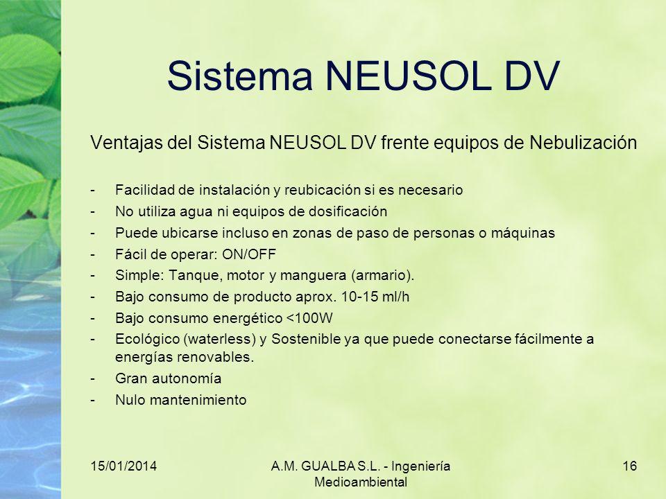 15/01/2014A.M. GUALBA S.L. - Ingeniería Medioambiental 16 Sistema NEUSOL DV Ventajas del Sistema NEUSOL DV frente equipos de Nebulización -Facilidad d