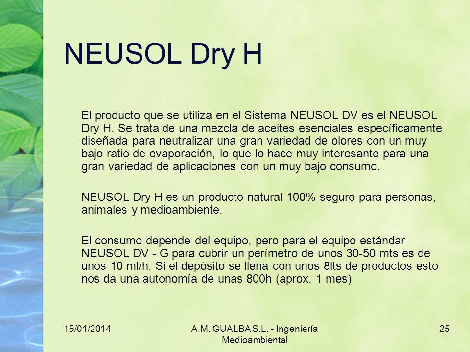15/01/2014A.M. GUALBA S.L. - Ingeniería Medioambiental 25 NEUSOL Dry H El producto que se utiliza en el Sistema NEUSOL DV es el NEUSOL Dry H. Se trata