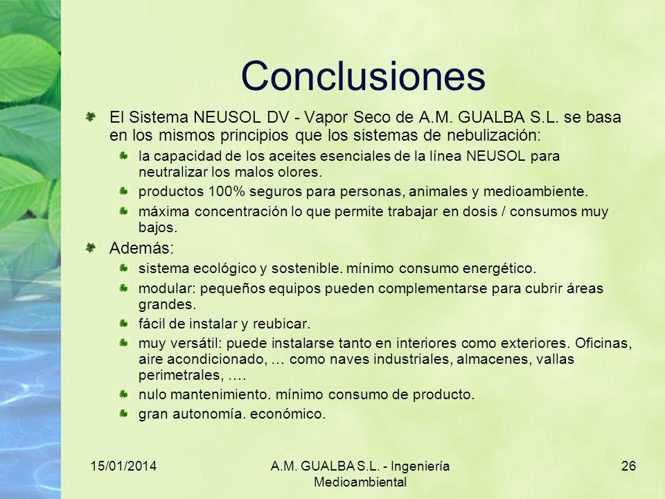 15/01/2014A.M. GUALBA S.L. - Ingeniería Medioambiental 26 Conclusiones El Sistema NEUSOL DV - Vapor Seco de A.M. GUALBA S.L. se basa en los mismos pri