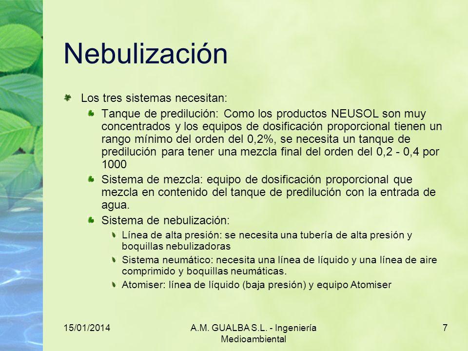 15/01/2014A.M. GUALBA S.L. - Ingeniería Medioambiental 7 Nebulización Los tres sistemas necesitan: Tanque de predilución: Como los productos NEUSOL so