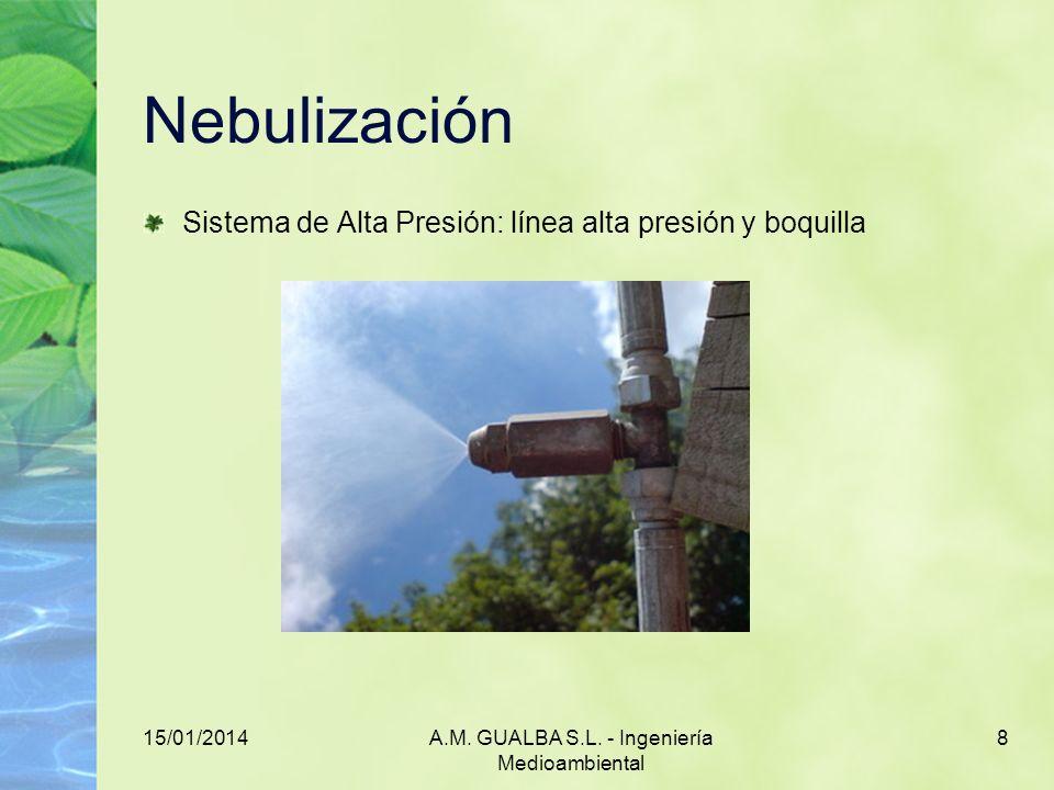 15/01/2014A.M. GUALBA S.L. - Ingeniería Medioambiental 8 Nebulización Sistema de Alta Presión: línea alta presión y boquilla