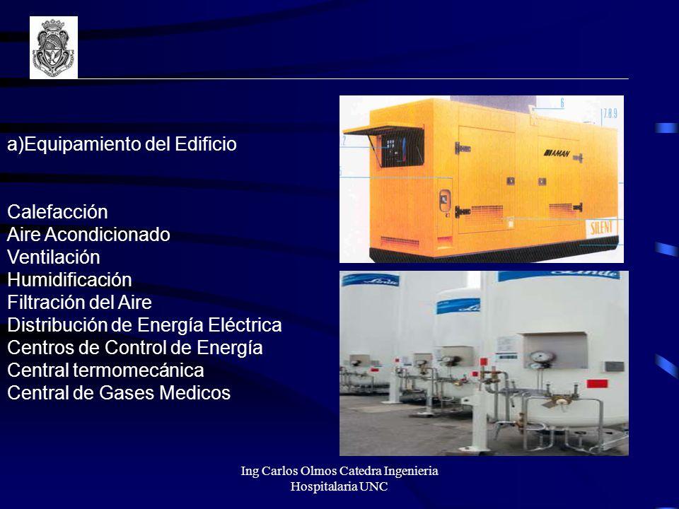 a)Equipamiento del Edificio Calefacción Aire Acondicionado Ventilación Humidificación Filtración del Aire Distribución de Energía Eléctrica Centros de
