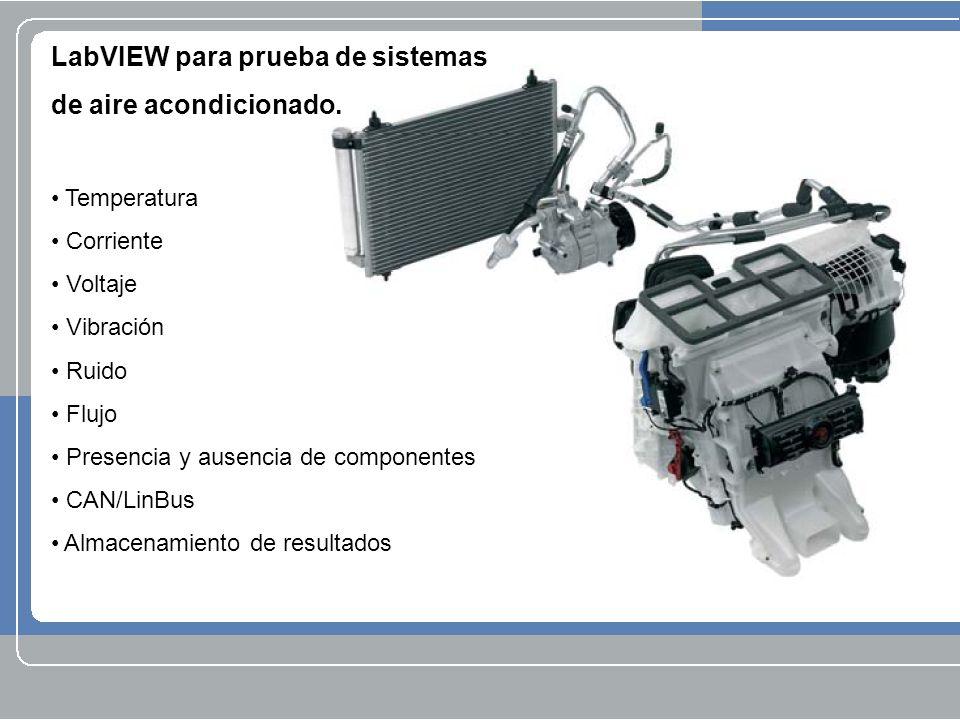 LabVIEW para prueba de sistemas de aire acondicionado. Temperatura Corriente Voltaje Vibración Ruido Flujo Presencia y ausencia de componentes CAN/Lin