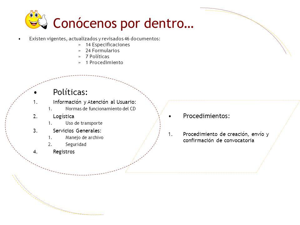 Conócenos por dentro… Políticas: 1.Información y Atención al Usuario: 1.Normas de funcionamiento del CD 2.Logística 1.Uso de transporte 3.Servicios Ge