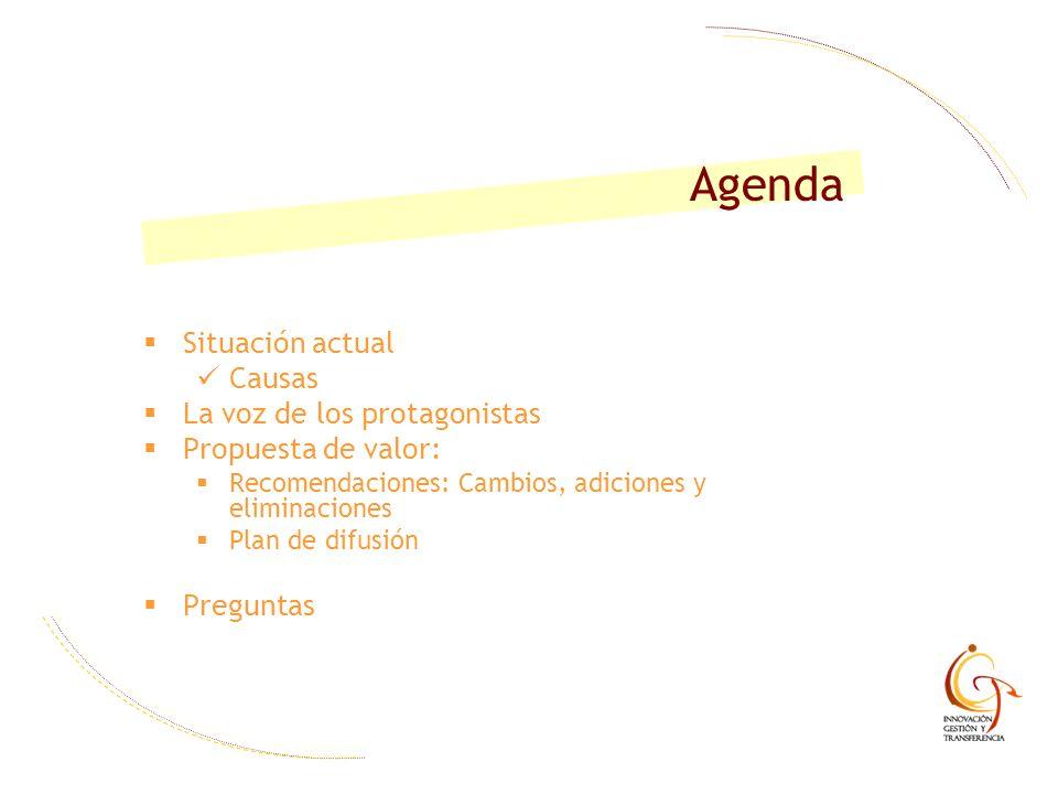 Situación actual Causas La voz de los protagonistas Propuesta de valor: Recomendaciones: Cambios, adiciones y eliminaciones Plan de difusión Preguntas
