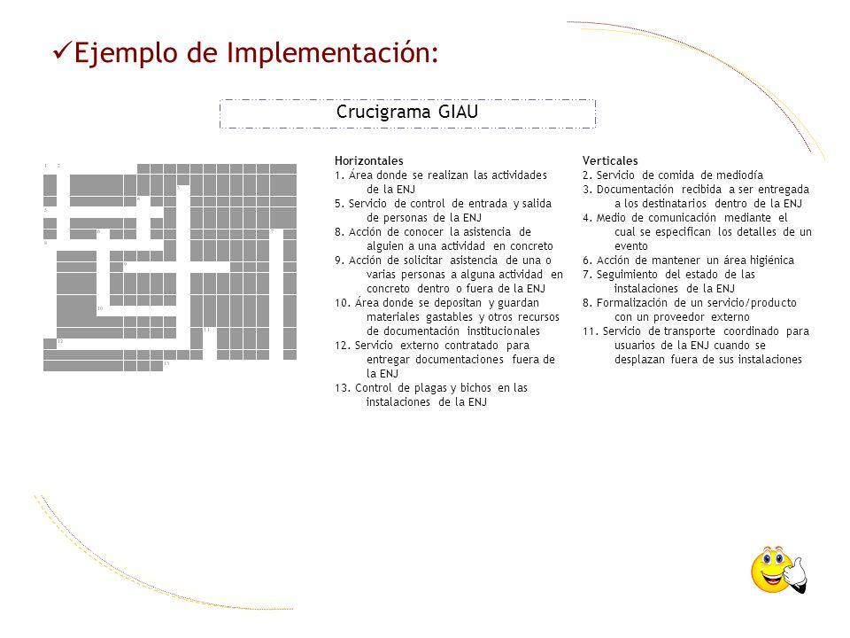Ejemplo de Implementación: Crucigrama GIAU Horizontales 1. Área donde se realizan las actividades de la ENJ 5. Servicio de control de entrada y salida