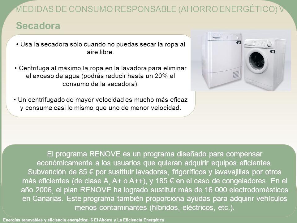 Energías renovables y eficiencia energética: 6 El Ahorro y La Eficiencia Energética Usa la secadora sólo cuando no puedas secar la ropa al aire libre.