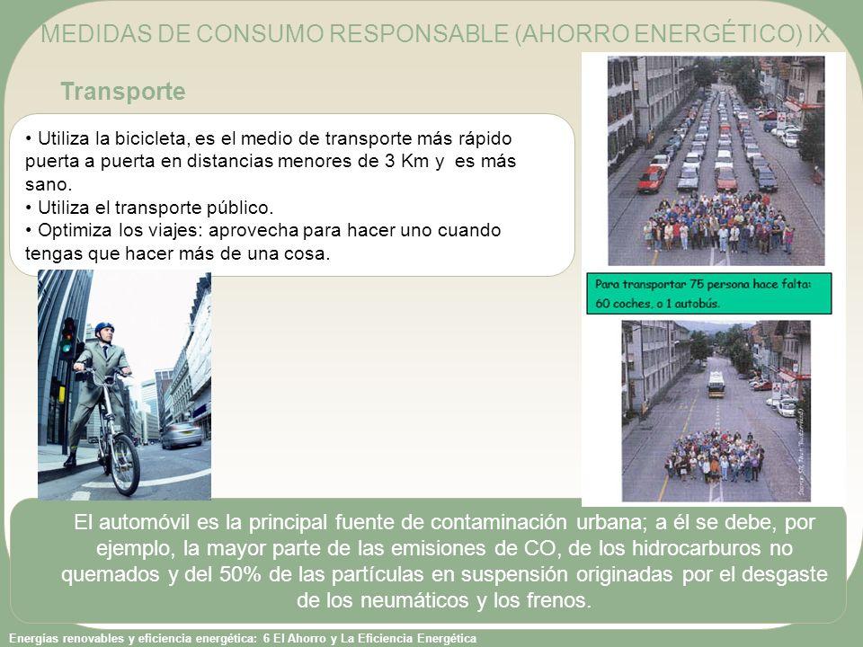 Energías renovables y eficiencia energética: 6 El Ahorro y La Eficiencia Energética Utiliza la bicicleta, es el medio de transporte más rápido puerta