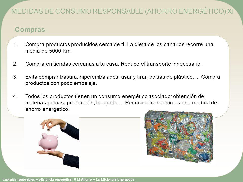 Energías renovables y eficiencia energética: 6 El Ahorro y La Eficiencia Energética 1.Compra productos producidos cerca de ti. La dieta de los canario