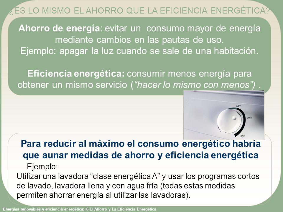 Energías renovables y eficiencia energética: 6 El Ahorro y La Eficiencia Energética Ahorro de energía: evitar un consumo mayor de energía mediante cam