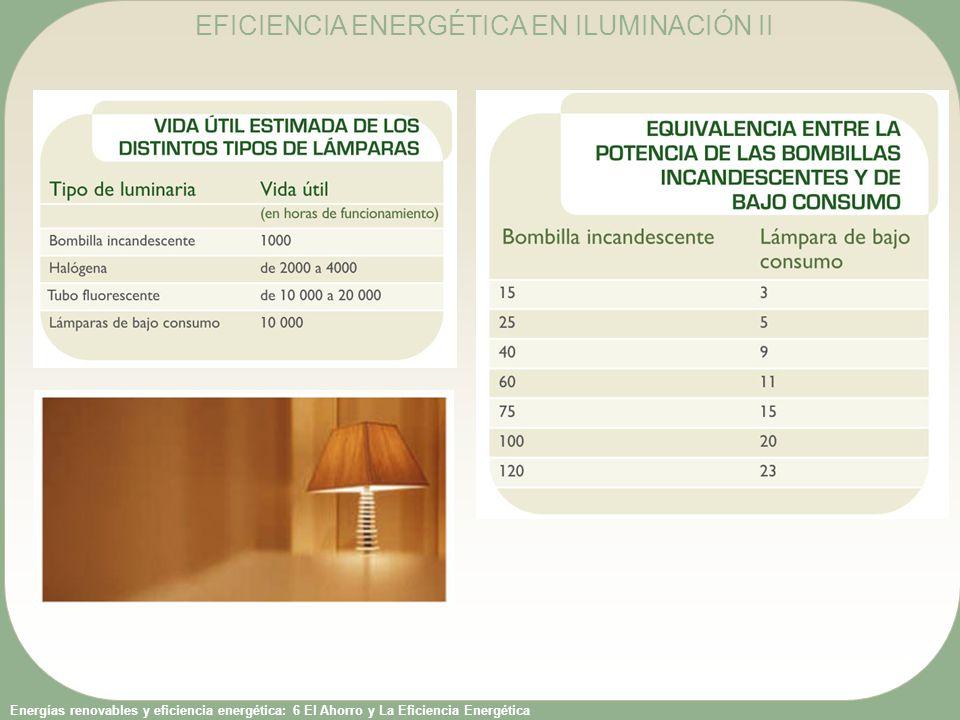 Energías renovables y eficiencia energética: 6 El Ahorro y La Eficiencia Energética EFICIENCIA ENERGÉTICA EN ILUMINACIÓN III