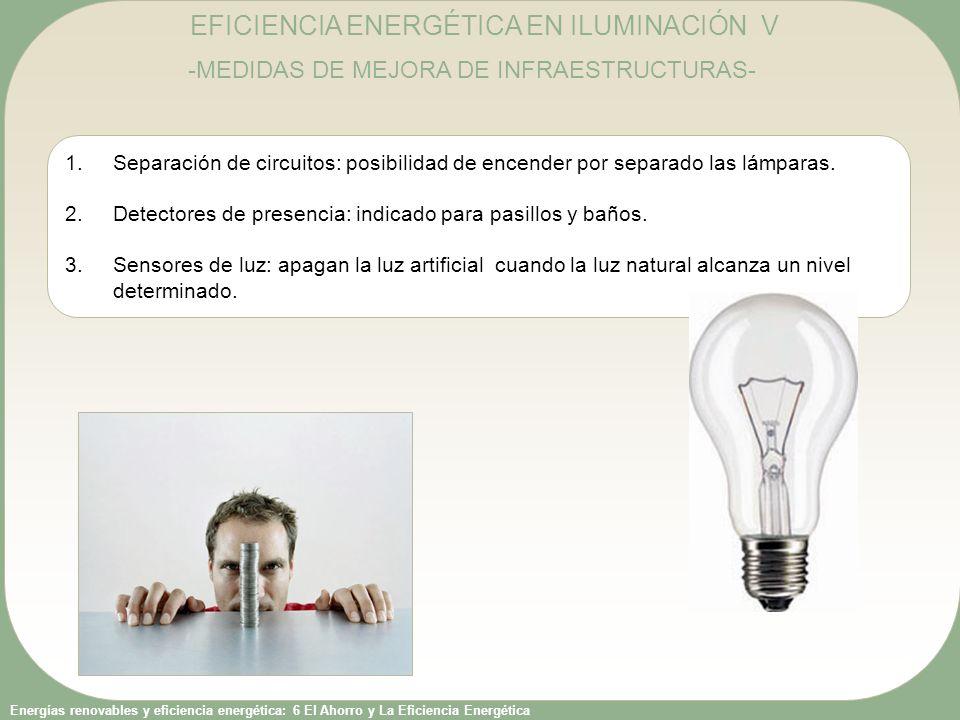 Energías renovables y eficiencia energética: 6 El Ahorro y La Eficiencia Energética EFICIENCIA ENERGÉTICA EN ILUMINACIÓN V -MEDIDAS DE MEJORA DE INFRAESTRUCTURAS- 1.Separación de circuitos: posibilidad de encender por separado las lámparas.