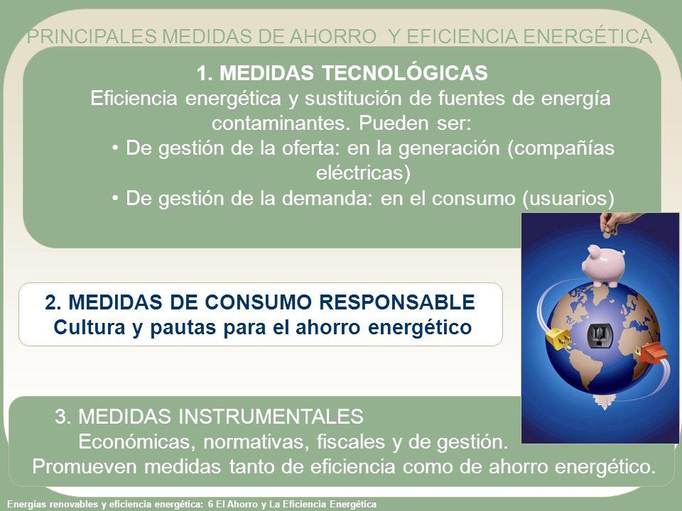 Energías renovables y eficiencia energética: 6 El Ahorro y La Eficiencia Energética 1.GESTIÓN DE LA OFERTA (producción de electricidad) A) Medidas innovadoras para mejorar el rendimiento en la generación de la energía (ciclos combinados, cogeneración) B) Sustitución de fuentes de energía: sustitución del petróleo por gas natural o por energías renovables 2.