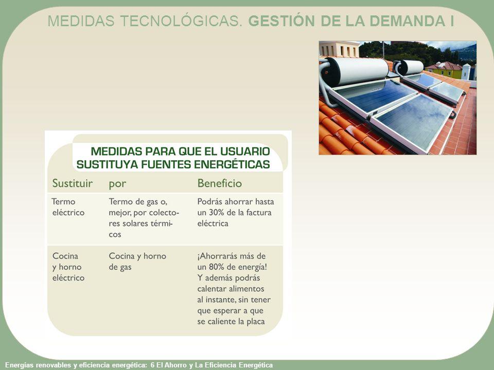 Energías renovables y eficiencia energética: 6 El Ahorro y La Eficiencia Energética B) Sustitución de equipos: sustitución por otros más eficientes; p.ej., sustitución de electrodomésticos o lámparas.