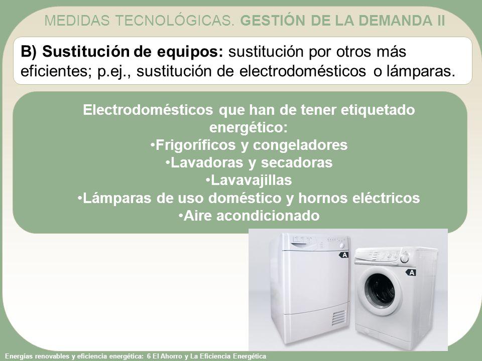 Energías renovables y eficiencia energética: 6 El Ahorro y La Eficiencia Energética B) Sustitución de equipos: sustitución por otros más eficientes; p