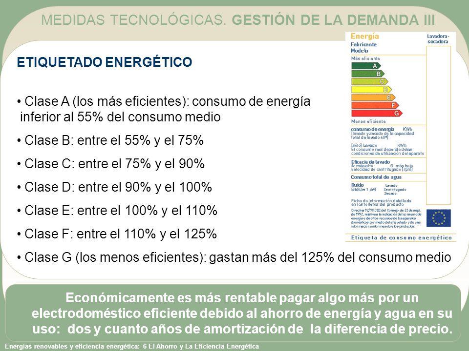 Energías renovables y eficiencia energética: 6 El Ahorro y La Eficiencia Energética ETIQUETADO ENERGÉTICO Clase A (los más eficientes): consumo de ene