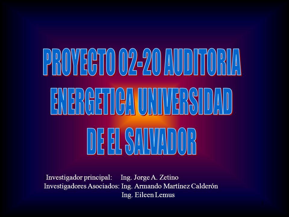 1 iInvestigador principal: Ing. Jorge A. Zetino Investigadores Asociados: Ing.