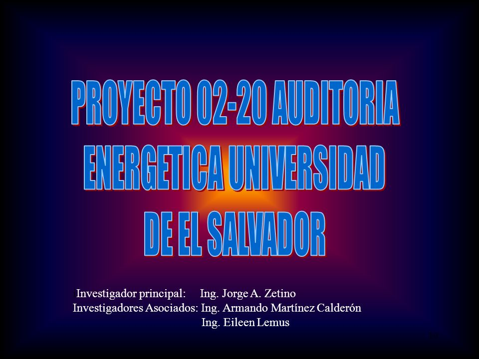 19 iInvestigador principal: Ing. Jorge A. Zetino Investigadores Asociados: Ing.