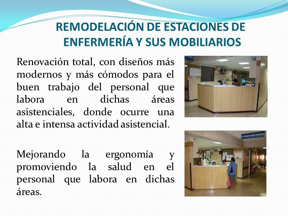 REMODELACIÓN DE ESTACIONES DE ENFERMERÍA Y SUS MOBILIARIOS Renovación total, con diseños más modernos y más cómodos para el buen trabajo del personal