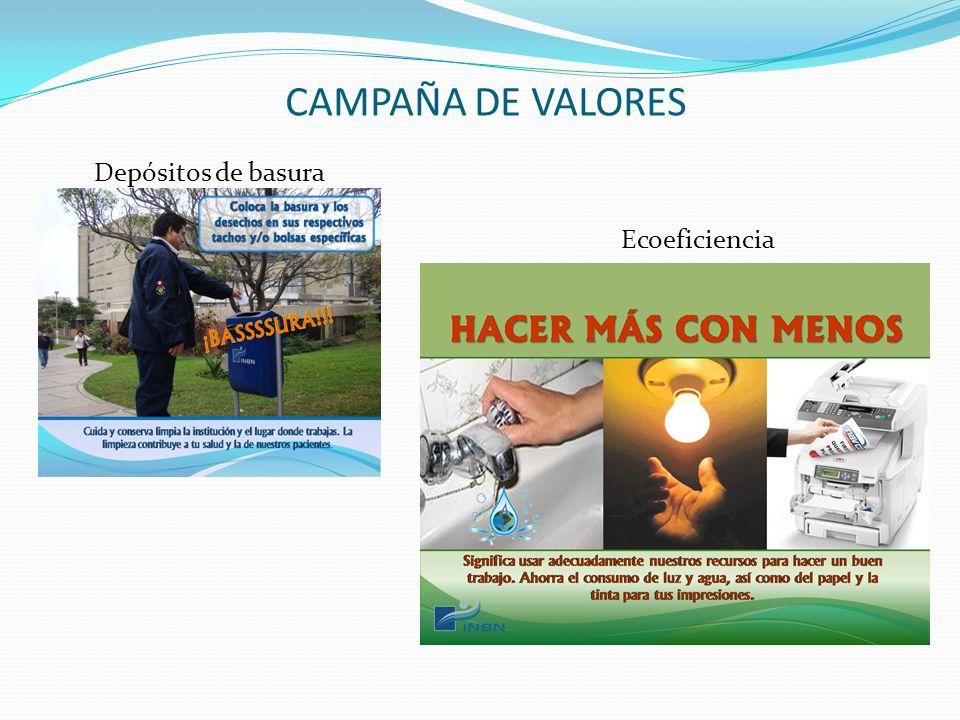 CAMPAÑA DE VALORES Depósitos de basura Ecoeficiencia