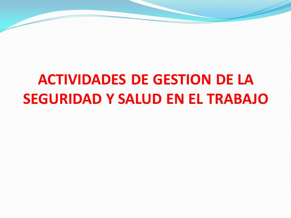 ACTIVIDADES DE GESTION DE LA SEGURIDAD Y SALUD EN EL TRABAJO