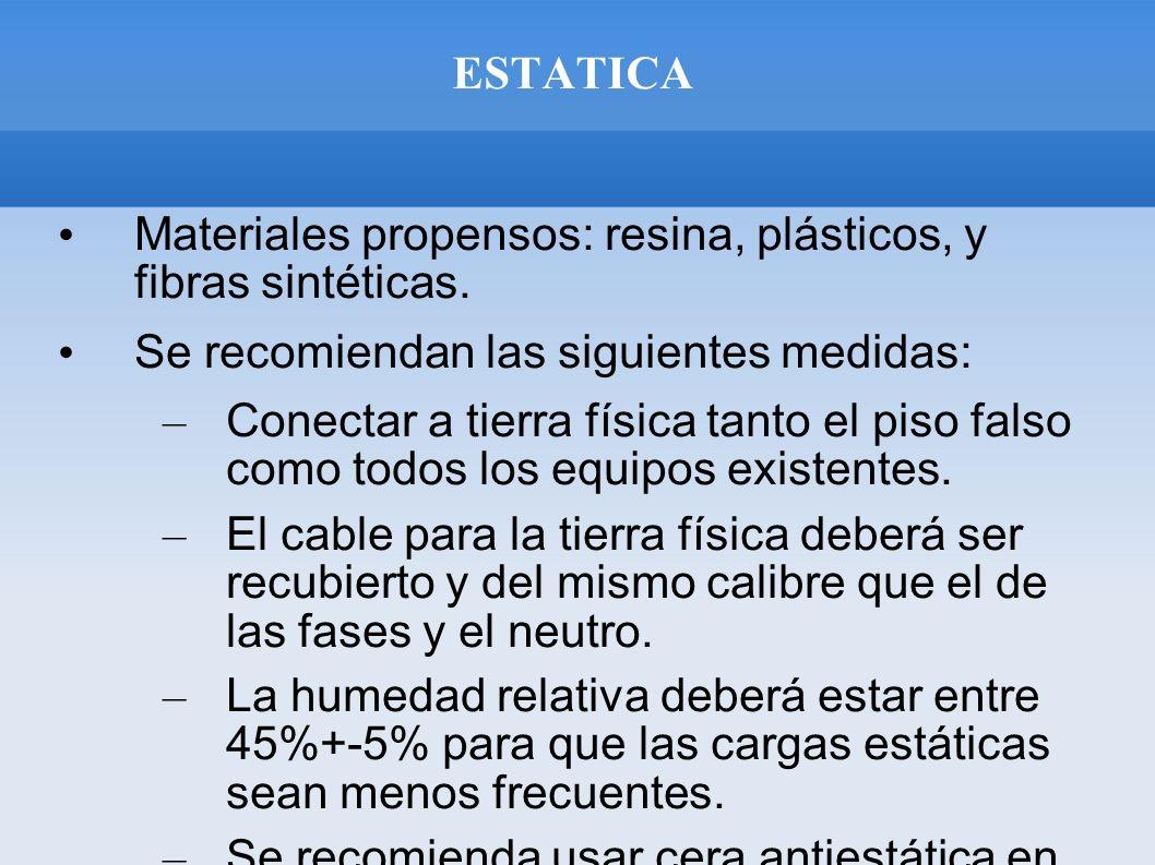 ESTATICA Materiales propensos: resina, plásticos, y fibras sintéticas. Se recomiendan las siguientes medidas: – Conectar a tierra física tanto el piso