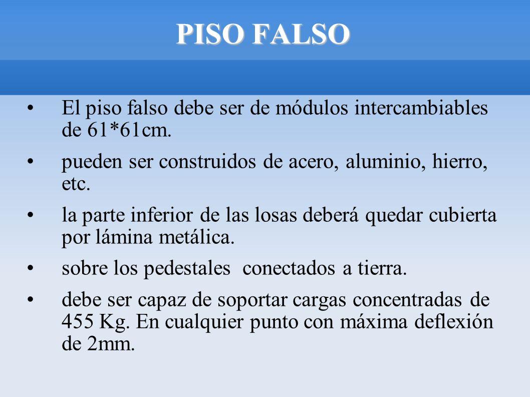 PISO FALSO El piso falso debe ser de módulos intercambiables de 61*61cm. pueden ser construidos de acero, aluminio, hierro, etc. la parte inferior de