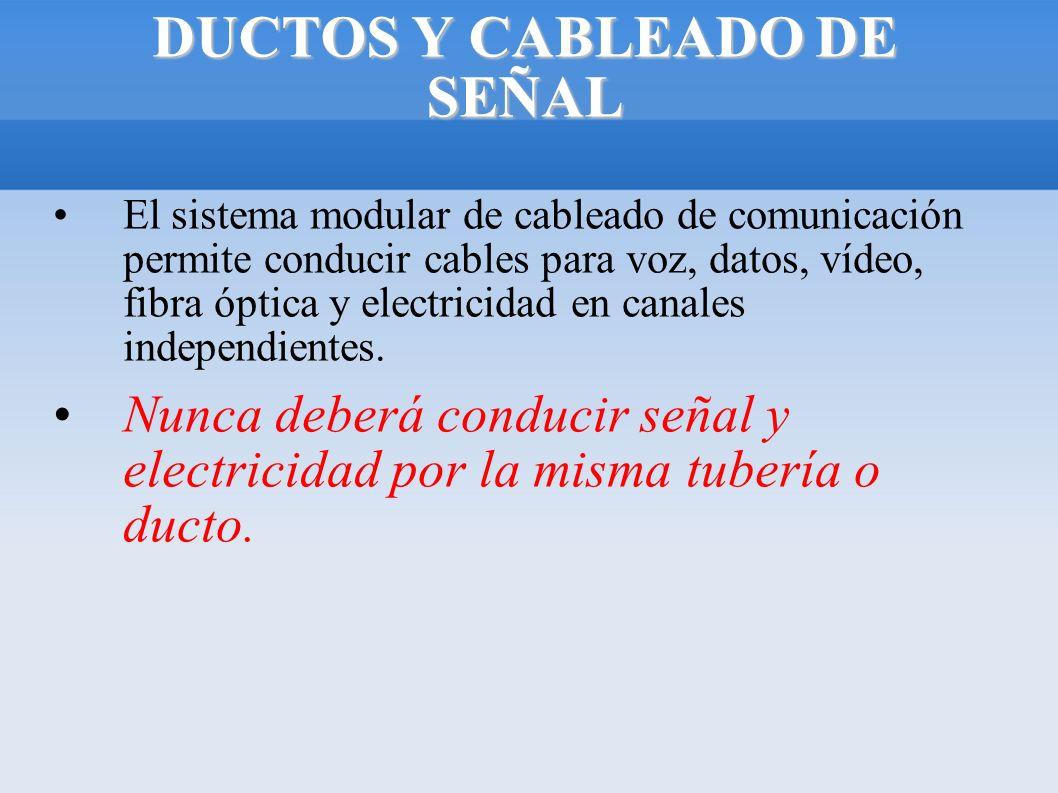 DUCTOS Y CABLEADO DE SEÑAL El sistema modular de cableado de comunicación permite conducir cables para voz, datos, vídeo, fibra óptica y electricidad